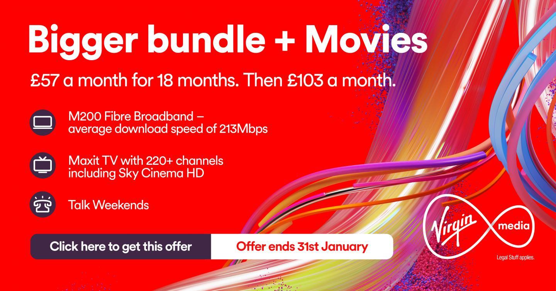 bigger movies bundle - Virgin Media Deals for New Customers